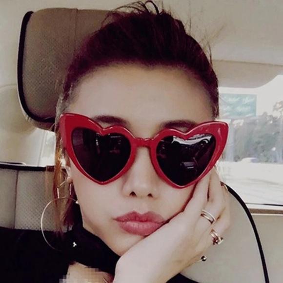 4c70f1b7d9 Retro Red Heart Cat Eye Design Sunglasses